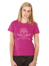 Skull & Crossbones GlamourGlitz Women's T-Shirt - Exclusive GlamourGlitz ''<b>Mommy & Me</b>'' Women's T-Shirt. <br /><br /> Embellished with a Skull & Crossbones design and crafted with Pink and Silver Rhinestuds that catch a sparkle in the light. Whether you wear this to match up with your pet or just on it's own, you can be sure you are wearing...