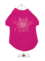 Little Devil GlamourGlitz Dog T-Shirt - Exclusive GlamourGlitz 100% Cotton Dog T-Shirt. A devilish T-Shirt for your little devil, a beautiful devil design crafted with Pink Rhinestuds that catch a sparkle in the light. Wear on it's own or match with a GlamourGlitz ''<b>Mommy & Me</b>'' Women's T-Shirt to complete the look.