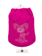 GlamourGlitz UrbanPup Dog Hoodie - Exclusive GlamourGlitz 100% Cotton Hoodie.This cute, light hearted design for dog lovers is sure to please your best friend and make a statement about who is the love of your life. Crafted with Pink and Silver Rhinestuds that catch a sparkle in the light. Wear on it's own or match with a GlamourGlit...