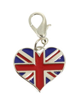 Cool Britannia Heart Dog Collar Charm - Get the London look with this cool heart charm. Finished in red, white and blue enamel this is an up to the minute fashion statement. Attaches to any collar's D-ring with a lobster clip. Measures approx. 1'' / 2.5cm wide.