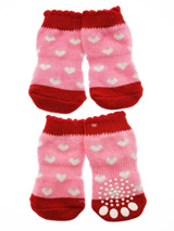Pink / Red ''Glitter Hearts'' Pet Socks - These fun and functional doggie socks protect your dogs paws from mud, snow, ice, hot pavement, hot sand and other extreme weather. Made from 95% cotton & 5% spandex making them comfortable and secure. Each sock features a paw shaped anti-slip silica pad & help keep your house sanitary.