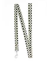 Black / White Polka Dot Glitter Lead - Leather lead with a silver clip and black & white polka dot glitter pattern.<ul><li><b>S-M</b> Width: 14mm</li><li><b>M-L</b> Width: 19mm</li><li><b>L-XL</b> Width: 25mm</li><li>Lead Length: 1.08m / 48''</li></ul>