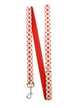 Red / White Polka Dot Glitter Silver Bone Lead - Leather lead with silver clip and a red & white polka dot glitter pattern, finished with a chrome bone.<ul><li><b>S-M</b> Width: 14mm</li><li><b>M-L</b> Width: 19mm</li><li><b>L-XL</b> Width: 25mm</li><li>Lead Length: 1.08m / 48''</li></ul>