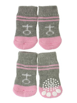 Grey / Pink ''Venus'' Pet Socks - These fun and functional doggie socks protect your dogs paws from mud, snow, ice, hot pavement, hot sand and other extreme weather. Made from 95% cotton & 5% spandex making them comfortable and secure. Each sock features a paw shaped anti-slip silica pad & help keep your house sanitary. (set of 4).