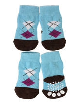 Blue / Black Argyle Pet Socks - These fun and functional doggie socks protect your dogs paws from mud, snow, ice, hot pavement, hot sand and other extreme weather. Made from 95% cotton & 5% spandex making them comfortable and secure. Each sock features a paw shaped anti-slip silica pad & help keep your house sanitary.