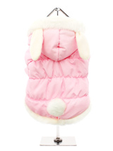 Pink Quilted Coat with Hood and Ears - A practical and fun quilted coat in beautiful baby pink, it is trimmed <br />in faux fur along the hood and hem. Three poppers on the underbelly <br />allow for fast and easy closure and makes it easy for you to take the <br />coat on and off your pup. By the way, did we mention the ears? How cute <...