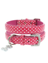 Hot Pink Polka Dot Collar & Diamante Heart Charm - Sparkling Bling Polka Dot Collar! This pink leather collar with a stitched edging has a crystal encrusted buckle and a large sparkling diamante heart charm complete the look. A glamorous addition to the wardrobe of any trendy pooch. <ul><li><b>S-M</b> Width: 14mm</li><li><b>M-L</b> Width: 19mm</li><...