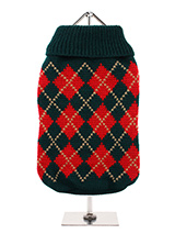 Red & Dark Green Argyle Sweater - Knitted dark green sweater with a red and gold diamond pattern. The Argyle pattern has seen a resurgence in popularity in the last few years due to its adoption by Stuart Stockdale in collections produced by luxury clothing manufacturer, Pringle of Scotland. The rich Scottish heritage will give your...