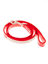 Flame Red Diamante Dog Lead - This red diamante lead has silver clip finished with a strip of sparkling diamantes.