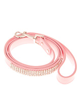 Diva Pink Diamante Dog Lead - This pink diamante lead has silver clip finished with a strip of sparkling diamantes. Pair it up with the matching black diamante dog collar to make a pure bling set.