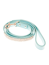Aqua Blue Diamante Dog Lead - This blue diamante lead has silver clip finished with a strip of sparkling diamantes.