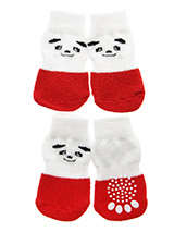 Red / White Panda Pet Socks - These fun and functional doggie socks protect your dogs paws from mud, snow, ice, hot pavement, hot sand and other extreme weather. Made from 95% cotton & 5% spandex making them comfortable and secure. Each sock features a paw shaped anti-slip silica pad & help keep your house sanitary. (set of 4).