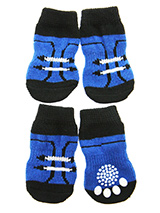 Footballer Pet Socks - These fun and functional doggie socks protect your dogs paws from mud, snow, ice, hot pavement, hot sand and other extreme weather. Made from 95% cotton & 5% spandex making them comfortable and secure. Each sock features a paw shaped anti-slip silica pad & help keep your house sanitary. (set of 4).