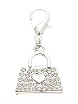Swarovski Handbag Dog Collar Charm (Clear Crystals) - No girl goes anywhere without their handbag so why should your girl be any different. Although you can't put anything in this handbag it is still a stunning accessory with its 30 Swarovski crystals and silver handles.