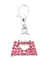 Swarovski Handbag Dog Collar Charm (Pink Crystals) - No girl goes anywhere without their handbag so why should your girl be any different. Although you can't put anything in this handbag it is still a stunning accessory with its 30 Swarovski crystals and silver handles.