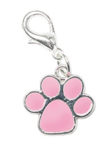 Pink Enamel Paw Dog Collar Charm - This beautiful Pink Enamel Paw Dog Collar Charm is the perfect accessory for your pampered pet! Attaches to any collar's D-ring with a lobster clip. If you have girl then we have one in Blue.