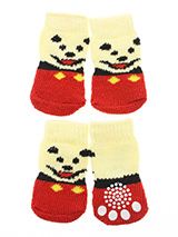 Red / Yellow 'Little Bear' Pet Socks - These fun and functional doggie socks protect your dogs paws from mud, <br />snow, ice, hot pavement, hot sand and other extreme weather. Made from <br />95% cotton & 5% spandex making them comfortable and secure. Each sock <br />features a paw shaped anti-slip silica pad & help keep your house <br...