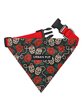 Skull & Roses Bandana - Lets get, lets get rocked with our tattoo inspired Skull & Roses Bandana. Just attach your lead to the D ring and this stylish Bandana can also be used as a collar. It is lightweight and incredibly strong. You can be sure that this stylish and practical Bandana will be admired from both near and afa...