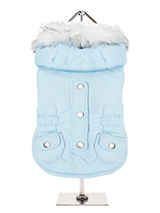 Eskimo Parka in Baby Blue - This is a luxurious fleece lined Parka which features a faux fur trimmed <br />hood and an elasticated waist for a great fit. A great combination of <br />style, quality and practicality. Guaranteed to keep you dog warm and <br />snug. The coat is finished with two pockets and chrome buttons along t...