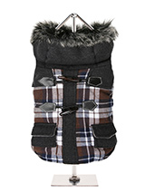 Highland Tartan Duffle Coat  - This two tone tartan designed coat is inspired by the traditions of the <br />Highlands of Scotland. It is fleece lined to keep your dog snug and <br />warm. It also has a faux fur trimmed hood with is both stylish and <br />practical. It fastens from the underside with four pop-on pop-off <br />but...