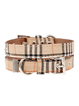 Brown Checked Tartan Fabric Collar - Our Brown Checked Tartan collar is a traditional design which is stylish, classy and never goes out of fashion. It is lightweight and incredibly strong. The collar has been finished with chrome detailing including the eyelets and tip of the collar. A matching lead, harness and bandana are available...
