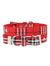 Red Checked Tartan Fabric Collar - Our Red Checked Tartan collar is a traditional design which is stylish, classy and never goes out of fashion. It is lightweight and incredibly strong. The collar has been finished with chrome detailing including the eyelets and tip of the collar. A matching lead, harness and bandana are available to...