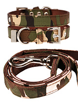 Camouflage Fabric Collar & Lead Set - If you have an action boy or girl this collar & lead set will be right up their street. It is lightweight and incredibly strong. The collar has been finished with chrome detailing including the eyelets and tip of the collar. A matching lead, harness and bandana are available to purchase separately....