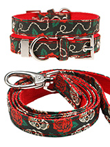 Skull & Roses Fabric Collar & Lead Set - Lets get, lets get rocked with our tattoo inspired Skull & Roses collar & lead set. It is lightweight and incredibly strong. The collar has been finished with chrome detailing including the eyelets and tip of the collar. A matching lead, harness and bandana are available to purchase separately. You...