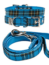 Blue Tartan Fabric Collar & Lead Set - Our Blue Checked Tartan collar & lead set is a traditional design which is stylish, classy and never goes out of fashion. It is lightweight and incredibly strong. The collar has been finished with chrome detailing including the eyelets and tip of the collar. A matching lead, harness and bandana are...