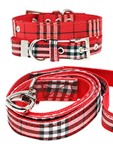Red Checked Tartan Fabric Collar & Lead Set - Our Red Checked Tartan collar & lead set is a traditional design which is stylish, classy and never goes out of fashion. It is lightweight and incredibly strong. The collar has been finished with chrome detailing including the eyelets and tip of the collar. A matching lead, harness and bandana are a...