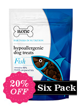 Six Pack - 80% Freshly Prepared Fish Hypoallergenic Dog Treats (6 x 200g packs) - B.one hypoallergenic bites are no ordinary dog treats. We avoid ingredients that are known to cause allergies and itching such as grains, cereals, artificial flavourings and colourings to produce a tasty hypoallergenic treat. Our recipe has been formulated with Europe's leading nutritionists to ensu...