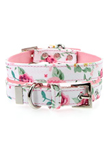 Pink Floral Cascade Fabric Collar - Our Floral Cascade pattern collar is a rich contemporary style and the floral pattern is right on trend. It is lightweight and incredibly strong. The collar has been finished with chrome detailing including the eyelets and tip of the collar. A matching lead, harness and bandana are available to purc...