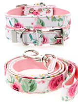 Pink Floral Cascade Fabric Collar & Lead Set - Our Floral Cascade pattern collar & lead set is a rich contemporary style and the floral pattern is right on trend. It is lightweight and incredibly strong. The collar has been finished with chrome detailing including the eyelets and tip of the collar. A matching harness and bandana are available to...