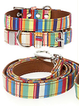 Henley Striped Fabric Collar & Lead Set - Our Henley Striped pattern collar & lead set is a rich contemporary style and the striped pattern is right on trend. It is lightweight and incredibly strong. The collar has been finished with chrome detailing including the eyelets and tip of the collar. A matching harness and bandana are available t...