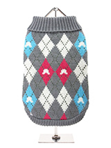 Grey & Pink Argyle Sweater - Our knitted Grey & Pink Argyle Sweater features a red, blue and white diamond pattern. The Argyle pattern has seen a resurgence in popularity in the last few years due to its adoption by Stuart Stockdale in collections produced by luxury clothing manufacturer, Pringle of Scotland. The rich Scottish...