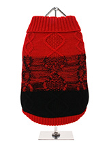 Donegal Red & Black Ribbed Sweater - This design has been inspired by the world famous Donegal sweater rich in heritage and reputed to be influenced by the scenic beauty of the landscape with its dark peat bogs and grey skys. This design represents sunset sinking into the black peat bog. Finished with an on trend high neck, elasticated...