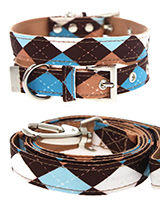 Brown & Blue Argyle Collar & Lead Set - Our Brown & Blue Argyle Collar & Lead Set is a traditional Scottish design which represents the Clan Campbell of Argyll in western Scotland. It is stylish, classy and never goes out of fashion. Used for kilts and plaids, and for the patterned socks worn by Scottish Highlanders since at least the 17t...