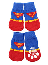 Superdog Pet Socks - These fun and functional doggie socks protect your dogs paws from mud, snow, ice, hot pavement, hot sand and other extreme weather. Made from 95% cotton & 5% spandex making them comfortable and secure. Each sock features a paw shaped anti-slip silica pad & help keep your house sanitary. (set of 4).