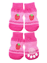 Strawberry Glitter Pet Socks - These fun and functional doggie socks protect your dogs paws from mud, snow, ice, hot pavement, hot sand and other extreme weather. Made from 95% cotton & 5% spandex making them comfortable and secure. Each sock features a paw shaped anti-slip silica pad & help keep your house sanitary. (set of 4).