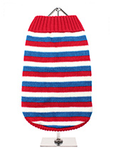 Red, White & Blue Striped Sweater - Step back in time with our multi striped sweater complete with the Boho look of the 1970s.This in trend sweater is an exceptionally well-made sweater that's durable as well as stylish and warm. This classic style creates a distinctive look and just oozes quality.