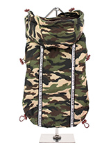 Camouflage Rainstorm Rain Coat - Our new Camouflage Rainstorm Rain coat will protect your dog from the rain and with it's hi-visibility stripe will help them be seen. The adjustable draw string hood will keep the raincoat snug to your dogs face and a drawstring on the hem will allow you to get a nice tight fit to keep the body warm...