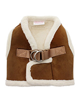 Luxury Brown & Cream Faux Shearling Harness - You will find it hard to resist our Luxury Shearling  Harness. It is so soft, light and smooth to the touch but still incredibly warm. Fleece lined with a faux suede outer it really is a great harness for keeping your dog warm and snug. It is lined with faux sheepskin wool and finished around the ne...