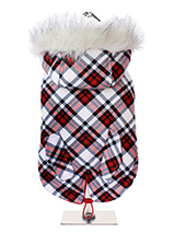 Red & White Plaid Fish Tail Parka - This plaid tartan fish tail parka is inspired by the traditions of the Highlands of Scotland. It is a quality, multi-layered piece of clothing that will keep the heat in and the cold out. Our classic collection of Parka coats and accessories will see your dog through the season ahead and beyond. It...