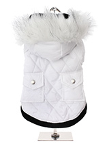 Snow White Quilted Parka - This multi layered luxuriously quilted Parka Coat with a faux trimmed detachable hood will keep the heat in and the cold out come what may. The arms and hem are elasticated for a great fit making for a perfect fit, add great quality and you have a coat that is second to none. It fastens from the und...