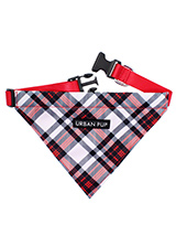 Red & White Plaid Bandana - Our Red and White Plaid Tartan Bandana is a traditional design which is stylish, classy and never goes out of fashion. Just attach your lead to the D ring and this stylish Bandana can also be used as a collar. It is lightweight and incredibly strong. You can be sure that this stylish and practical B...