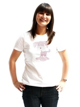 UrbanPup GlamourGlitz Women's T-Shirt - Exclusive GlamourGlitz ''Mommy and Me'' Women's T-Shirt.  This cute, light hearted design for dog lovers is sure to please your best friend and make a statement about who is the love of your life. Crafted with Pink and Silver Rhinestuds that catch a sparkle in the light. Whether you wear this to mat...