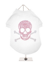 Skull & Crossbones GlamourGlitz Dog T-Shirt - Exclusive GlamourGlitz 100% Cotton Dog T-Shirt. Embellished with a Skull & Crossbones design and crafted with Pink & Silver Rhinestuds that catch a sparkle in the light. Wear on it's own or match with a GlamourGlitz ''<b>Mommy & Me</b>'' Women's T-Shirt to complete the look.