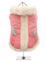 Pink Suede Body Coat - An elegant, soft faux suede coat that is perfect for that classy pup. The white fur trim creates a real princess feel, while the silver pockets add a glamorous touch. The pop-on pop-off buttons on the underside make it easy to take on and off your dog.