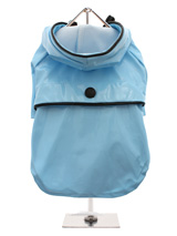 Duck Egg Blue Raincoat - Protect your pup from the rain with this waterproof raincoat. The <br />adjustable draw string hood will keep the raincoat snug to your pup's <br />face, while the soft lining will keep your dog comfortable. The velcro <br />fastenings make it easy to put on and take off your dog. This duck egg <br...