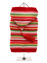 Rainbow Sweater with Hood - Liven up any dull days with this bright stripped knitted sweater. The hood and tassel give it a modern trendy look and feel, while its supersoft feel keeps your pup warm and comfortable.